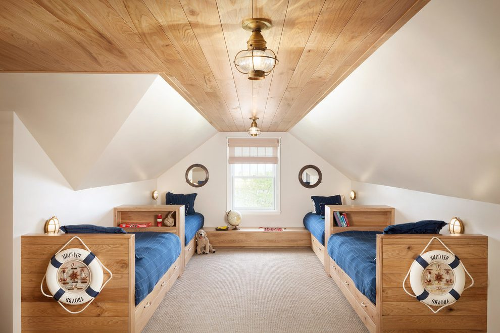 portland maine rustic wood bunk beds with traditional world globes kids beach style and porholes