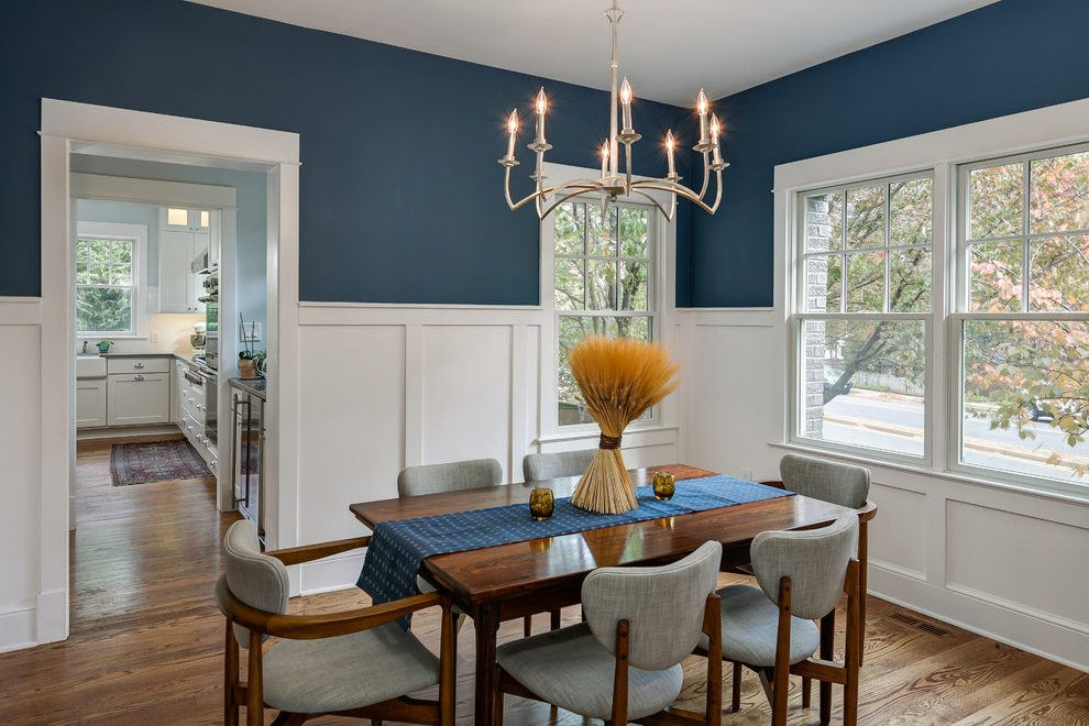 Blue Dining Room Antique White Walls Traditional Orange