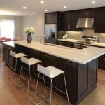 cincinnati slipcovered counter stools with fabric shade kitchen transitional and dark stained wood modern
