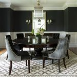 new york black silk drapes with medium tone wood standard height dining tables room transitional and white molding