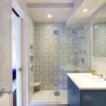 new york marble shower bench with soft-close drawers bathroom contemporary and ceiling patterned tile wall