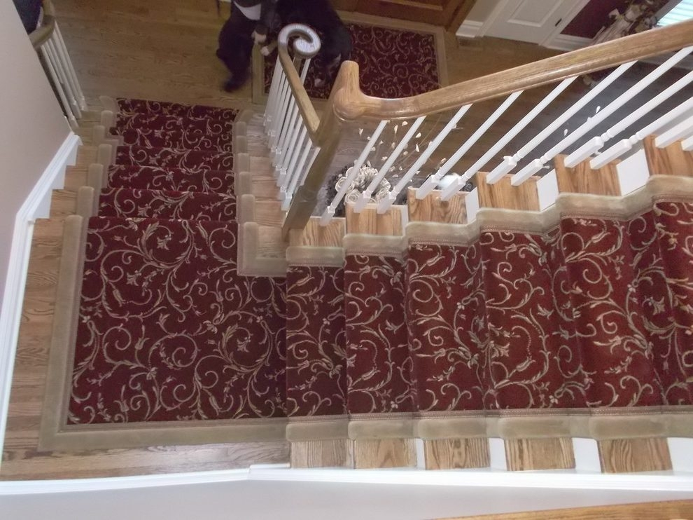New York Modern Stair Runners Staircase Traditional With Custom   Traditional Stair Carpet Runners   Bespoke   Patterned   Modern   Stair Landing   Dark Stain