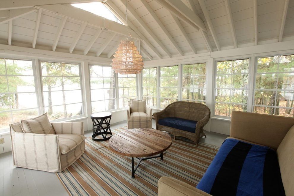 Splendid Painted Ceiling Beams Sunroom Traditional With
