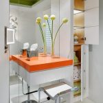 vancouver bathroom linen cabinets with contemporary vanity stools and benches modern green ceiling orange counter