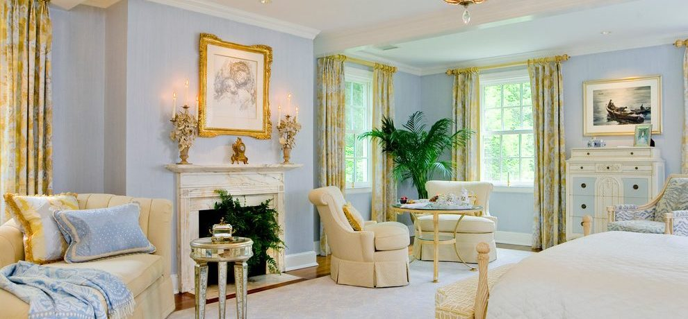 Baltimore gold and blue bedding Bedroom Traditional with closet designers professional organizers pale walls