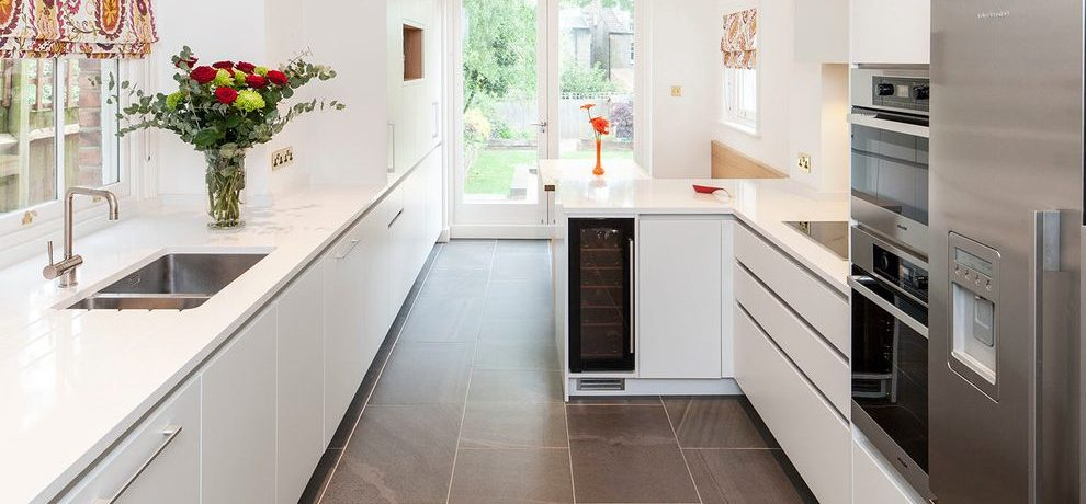 London small galley Kitchen Contemporary with kitchen and bathroom designers blinds