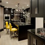 San Francisco black shaker kitchen cabinets Kitchen Transitional with and bath fixture professionals table lighting