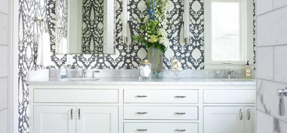 Atlanta l shaped bathroom vanity Bathroom Contemporary with stone and countertop manufacturers showrooms white