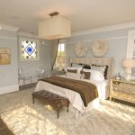 Awesome grid tufted headboard in with candice olson living room and Window Treatments