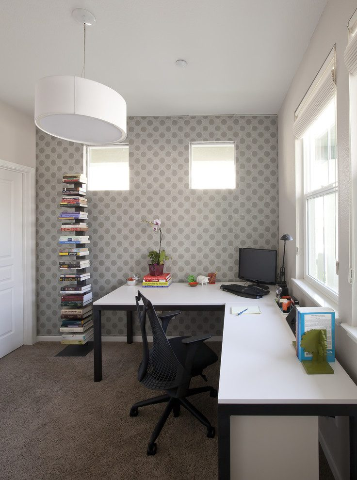 Beautiful home office desks ikea Contemporary Home Office in San Francisco with black chair and silver wallpaper