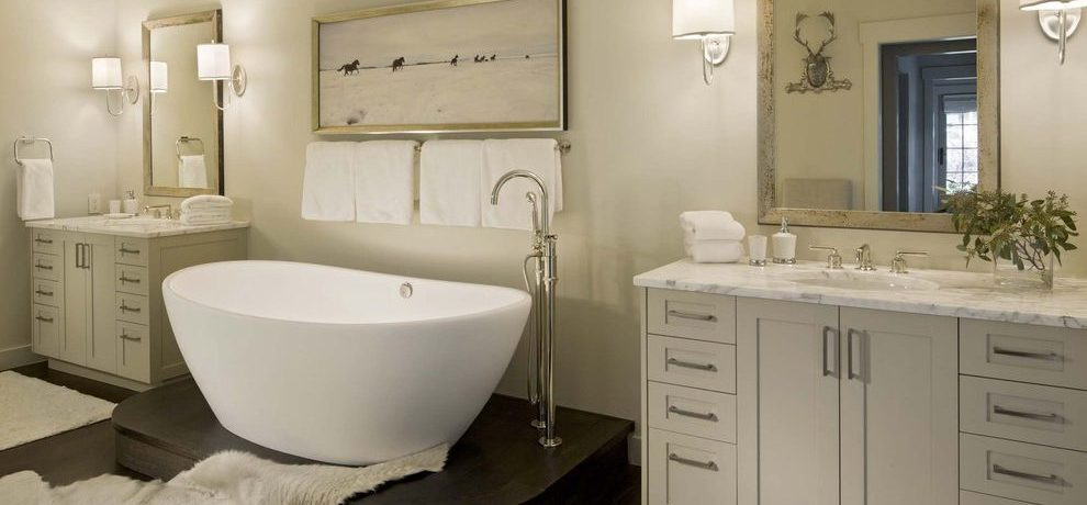 Blooming waterworks sinks in with bleeker beige and towel bar placement