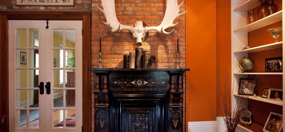 Lovely paint swatch art Eclectic Family Room in Columbus with mantle detail and