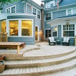 Amazing blue and green design Contemporary Deck in Kansas City with wood bench white