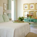 Astonishing blue and green design in with orange armchair white bedding