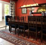 Beautiful Damask Print Chair Mediterranean Dining Room Designing Tips with Blue and White Candle Chandelier