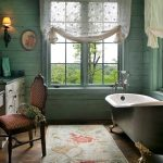 Fabulous blue and green design Victorian Bathroom in Other with sheer curtains pedestal tub