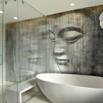 Glass And Mural In Bathroom Asian Inpsired Mural Buddah Built In Shower Bench Contemporary Bath Design Floating Shelf Freestanding Tub Glass Enclosure