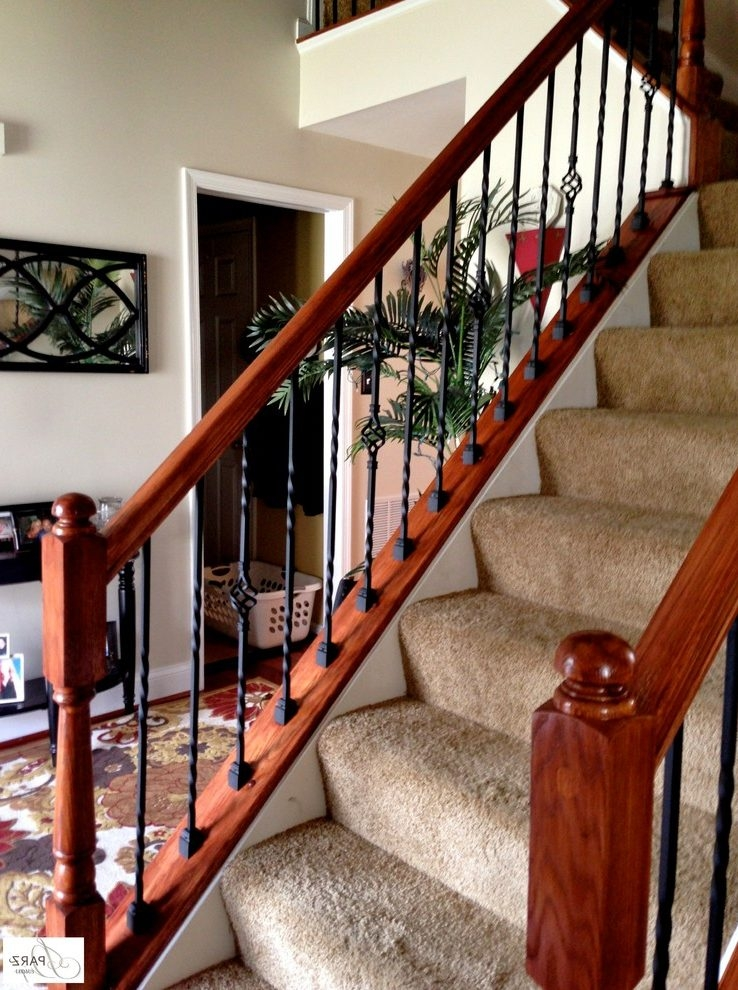 Wrought Iron Stair Railing Stained Railing Wood Handrail Rail   Metal Railing With Wood Handrail   Horizontal Metal   Stair Railings   Flat Bar   Stair Parts   Wrought Iron Balusters