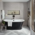 Tile Pattern And Vanity Cabinets Alcove Shelf Barn Doors Black Bathtub Fireplaces Gray Cabinets Grey Master Bathroom Bedroom Ottomans And Cubes