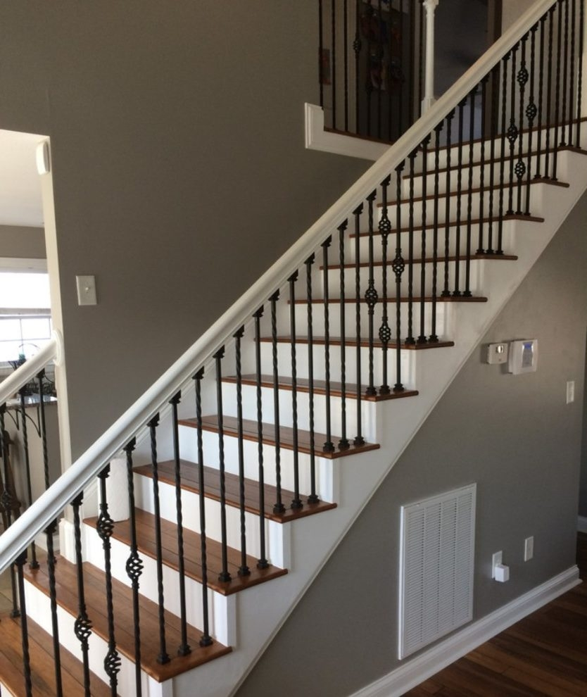 Wrought Iron Stair Railing Black Dark Wood Treads Iron Rail | Wood Steps With White Risers | Timber | Wood Stair | Before And After | Color | Stair Tread