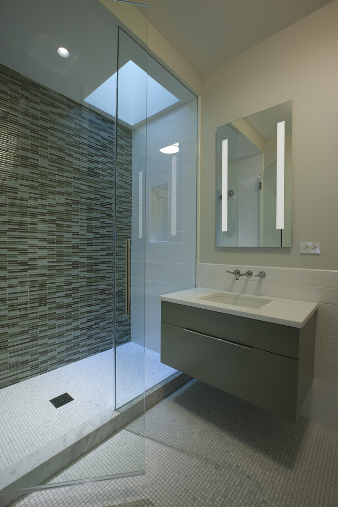 Bathroom Vanity Cabinets   Glass Tile And Glass Tile Floating Sink Glass Shower Glass Tile Lighted Mirror Cabinet Marble Curb Minimalist Mosaic Tile Recessed Light Wall Mount Faucet