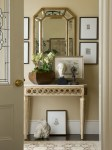 Astonishing Mirrored Entryway Table Designing Tips with Console and Greek Heads Classical Head