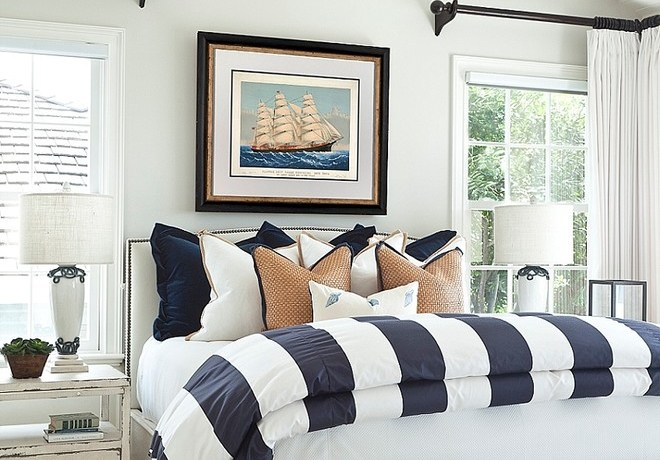 Nautical Blue Paint   Navy Blue Bedroom And Los Angeles Interior Designer Beach Style Bedroom View Coastal Home Guest Interior Designer In Los Angeles Orange County Los Angeles Interior Designer