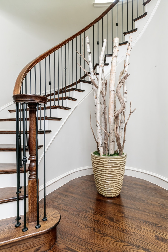 Dallas Wrought Iron Spindles Traditional Staircase Black Stair | Iron And Wood Staircase | Traditional | Spiral | White | Internal | Cherry Wood