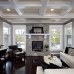 Awesome Ceiling Coffers Living Room Contemporary With TV Console And Wall-mounted TV Ceiling Lights Coffee Table Coffered Ceilings Decorative Pillows Fireplace Mantel Leather Armchair Sofa Neutral