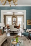 Beautiful White Grasscloth Wallpaper Dining Room Transitional with Upholstered Dining Chairs Formal Enclosed Room Ornate Trim Blue Wallcovering Wing Chair