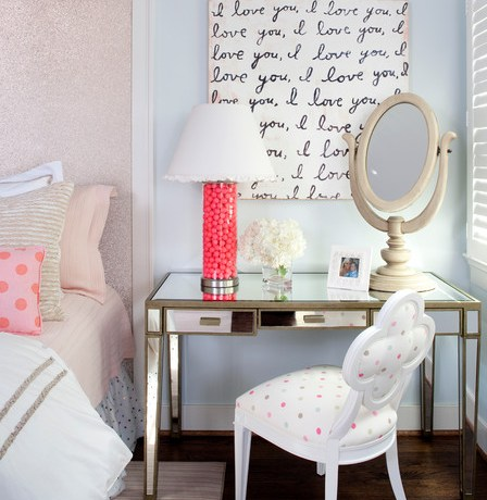 Delightful Blue Glass Desk Bedroom Eclectic With Polka Dots And Light Blue Kristin Peake Interiors Lamp Shade Light Blue Makeup Mirror Mirrored Table Polka Dots Upholstered Headboard Wood Floor