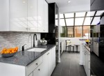 Good-looking Glass Tile Backsplash Images Kitchen Contemporary with White Kitchen Gray Countertops Shiny Cabinets Sleek Cabinets Galley Lighting