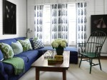 Imaginative Blue Sofa Chair Living Room Beach Style with Sectional Modern Art and Green Wall Boards Wood Coffee Table Printed Drapes Windsor White