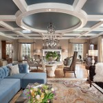 Wonderful Ceiling Coffers Living Room Traditional With Coffered Ceiling And Blue Velvet Sectional Beige Traditional Area Rug Window Curtains Blue Ceiling Velvet Sectional Brown Bench Sofa Coffered