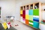Awesome Basement Playroom Design Ideas Kids Contemporary with Modern Storage Cubbies Kids Study inhabit Wall Flat Panels Colorful Cabinets Room Storage Playroom