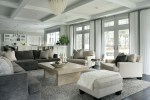 Fabulous West Elm Parsons Coffee Table Family Room Contemporary with White Armchairs Crystal Chandelier Great Room Rectangular French Doors Coffered Ceiling Gray Sectional Sofa Green and