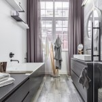 Good-Looking Wood Paneling Bathroom Bathroom Contemporary With Open Shelving And Smart Home Black Taps Wall Mounted Faucets Brown Socket Contemporary