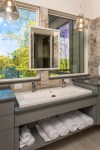 Good-looking Trough Style Bathroom Sinks Bathroom Transitional with Marvin Windows Faucets Modern Lake House Mirror Transitional Design Wood Walls Farmhouse Kitchen