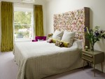 Imaginative Pink Velvet Bedding Bedroom Transitional with Floral Throw Cushions Natural Light Cream Walls Upholstered Headboard Bedroom Green Curtains Curtain Sash Window