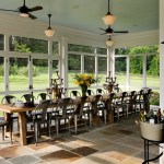 Splendid Screened Porch Furniture Porch Farmhouse With Marais Chair And Ceiling Fan Accent Ceiling Beadboard Bright Porch Candelabra Fan Fans Country