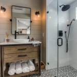 Splendid Shower Curtains Pottery Barn Bathroom Transitional With Curbless Shower And White Countertop Black And White Tile Shower Fixtures Cement