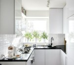 Wonderful Small Sinks For Kitchen Scandinavian with Black Countertops Kitchen Subway Tile Black and White Compact Space