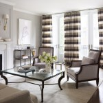 Astonishing Gray Striped Curtains Living Room Traditional With Glass And Metal Coffee Table And Fireplace Mantel Baseboards Coffee Table Crown Molding