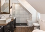 Beautiful Ceramic Tile That Looks Bathroom Eclectic with 3x6 Subway Tile Classic Clawfoot Tubs Dresser Vanity White Bathroom Wood-look Subway Furniture Vanity
