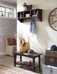 Blooming Entryway Storage Bench Entry Transitional with Wood Shelf Shoe Seating Furniture Wall & Coat Hooks Chocolate Brown