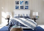 Extraordinary Ethan Allen Area Rugs Bedroom Contemporary with Striped Bedding Bedside Table Lamp Gray and White Woven Pouf Headboard Dark Blue Rug Leather