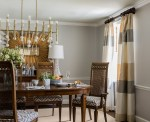 Extraordinary Jonathan Adler Queen Anne Mirror Dining Room Contemporary with Gold Striped Curtains Dark Wood Dining Chair Jonathan Adler Chandelier White Molding Sunburst