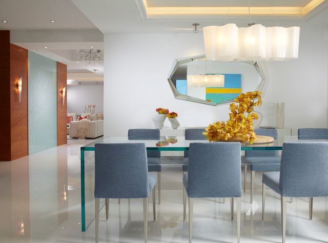 Fabulous Pier One Dining Room Table Miami Beach Modern Interior Design In Miami With Tray Ceiling And White Wall Buffet Table Centerpiece Chandelier