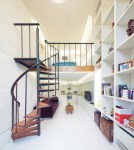 Glorious Garage with Apartment Above Floor Plans Staircase Contemporary with Open Shelving White Brick Wall Walls Narrow House Long Home Purple Velvet Sofa Spiral Staircase Iron Stair
