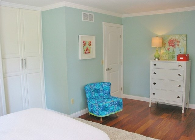 Good-looking Ikea Pax Komplement Bedroom Eclectic With 1950's Chair And Wood Floor 1950's Chair Crown Molding Light Blue Table Lamp Vintage Fabric